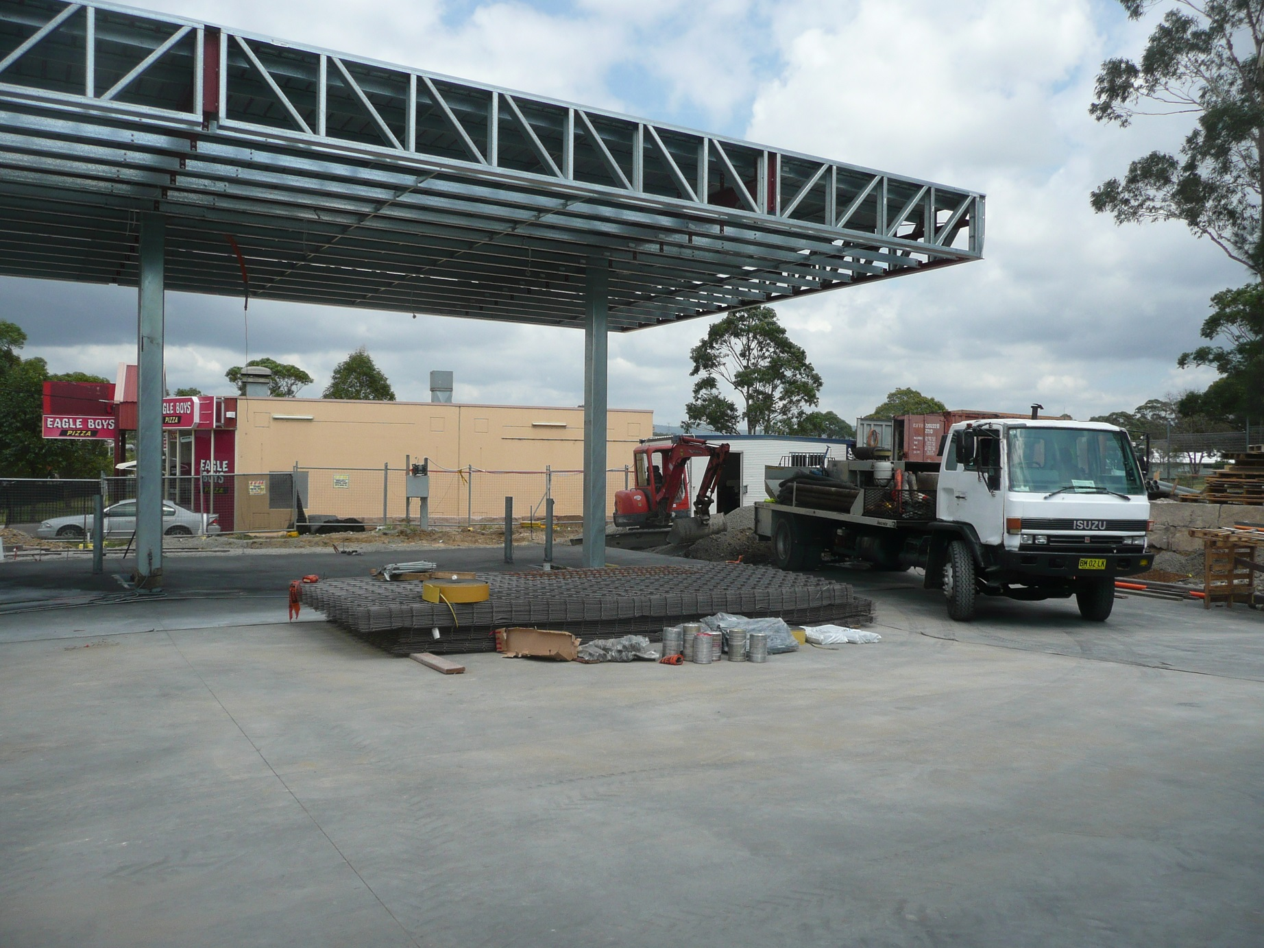 Structural steel awning design service station